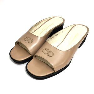 Ferragamo Tan Leather Slide Sandals w/ Logo